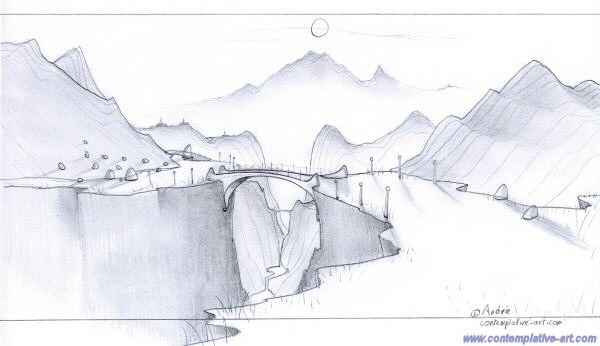 Dessins au crayon - Dessin de montagne ...